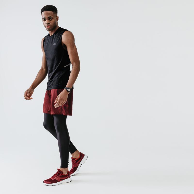 KALENJI DRY MEN'S BREATHABLE RUNNING TIGHTS - BLACK