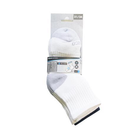 Kids' Mid Sports Socks RS 500 Tri-Pack - White/Navy