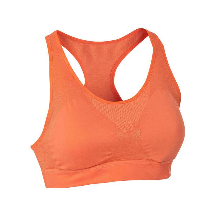 附襯墊經典跑步短版上衣 - 珊瑚紅