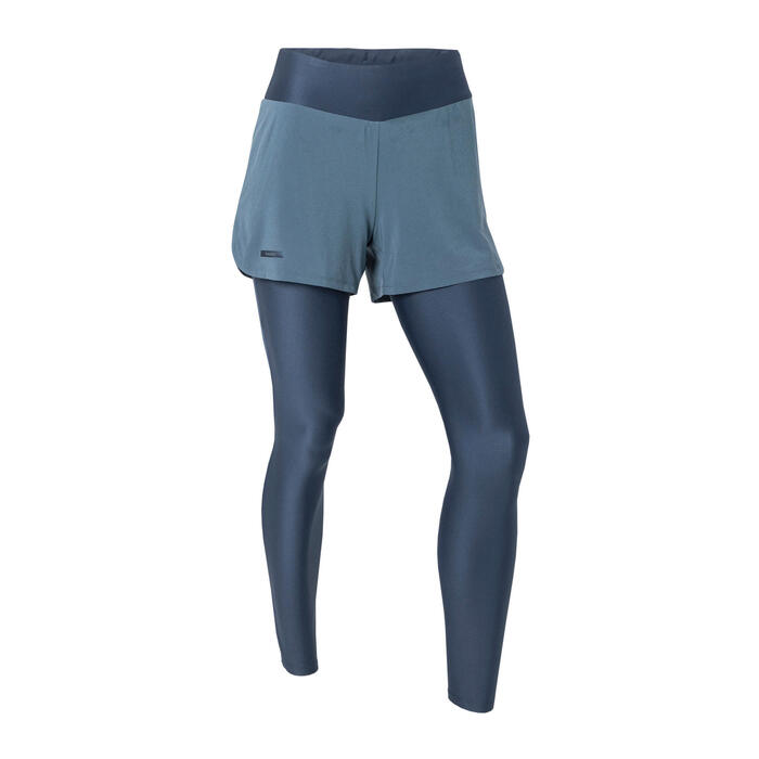 WOMEN'S RUN DRY+ 2-IN-1 RUNNING SHORTS/TIGHTS - BLUE