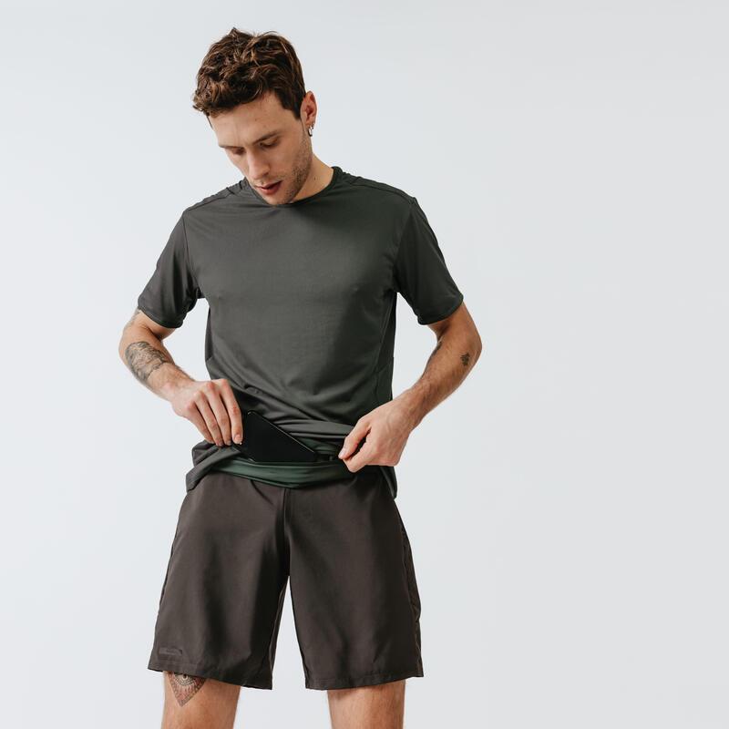 Playera Running Run Dry+ Hombre Caqui Oscuro