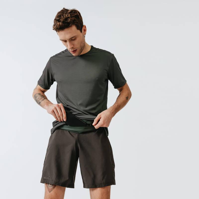PÁNSKÉ PRODYŠNÉ OBLEČENÍ NA JOGGING Běh - TRIČKO RUN DRY+ KHAKI  KALENJI - Běžecké oblečení