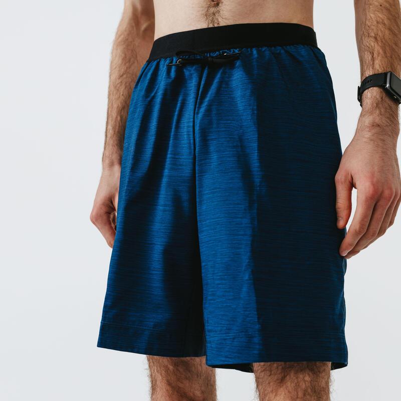 Ademende 2-in-1 hardloopshort met geïntegreerde boxer voor heren Dry+ blauw