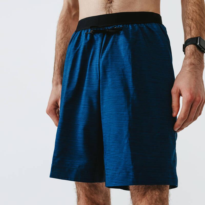 PÁNSKÉ OBLEČENÍ NA JOGGING DO TEPLÉHO POČASÍ Běh - BĚŽECKÉ KRAŤASY 2V1 DRY+ MODRÉ KALENJI - Běžecké oblečení