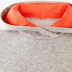 Kapuzenpullover 100 Baumwolle warm Gym Kinder hellgrau mit Print
