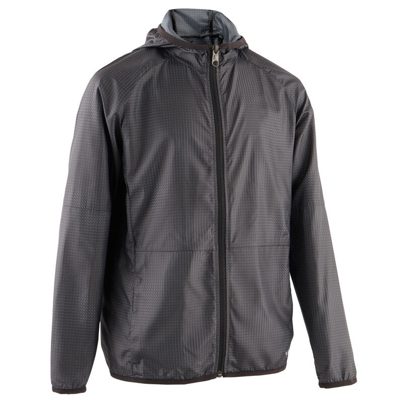 Boy's Ultra-Light Compact Breathable Gym Jacket W500 - Black/Print