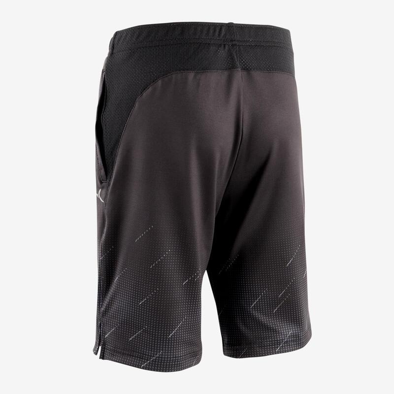 กางเกงขาสั้นเด็กผู้ชายเนื้อผ้าใยสังเคราะห์ระบายอากาศได้ดีสำหรับกายบริหารทั่วไปรุ่น S500 (ดำพิมพ์ลาย)