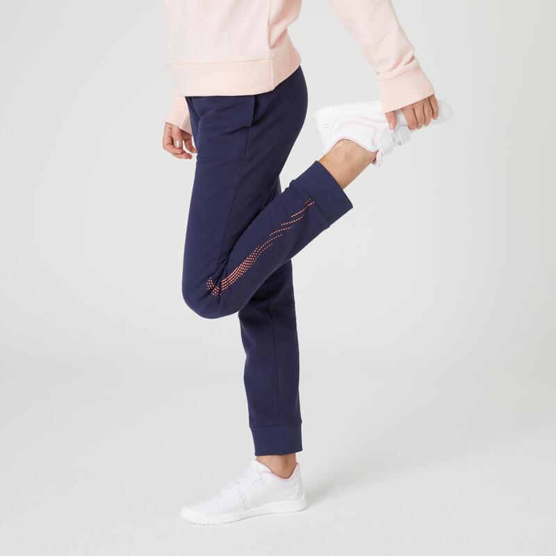 Pantalon de jogging chaud french terry coton fille enfant marine