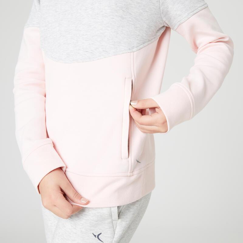 Sweat capuche poches zippées gris rose ENFANT