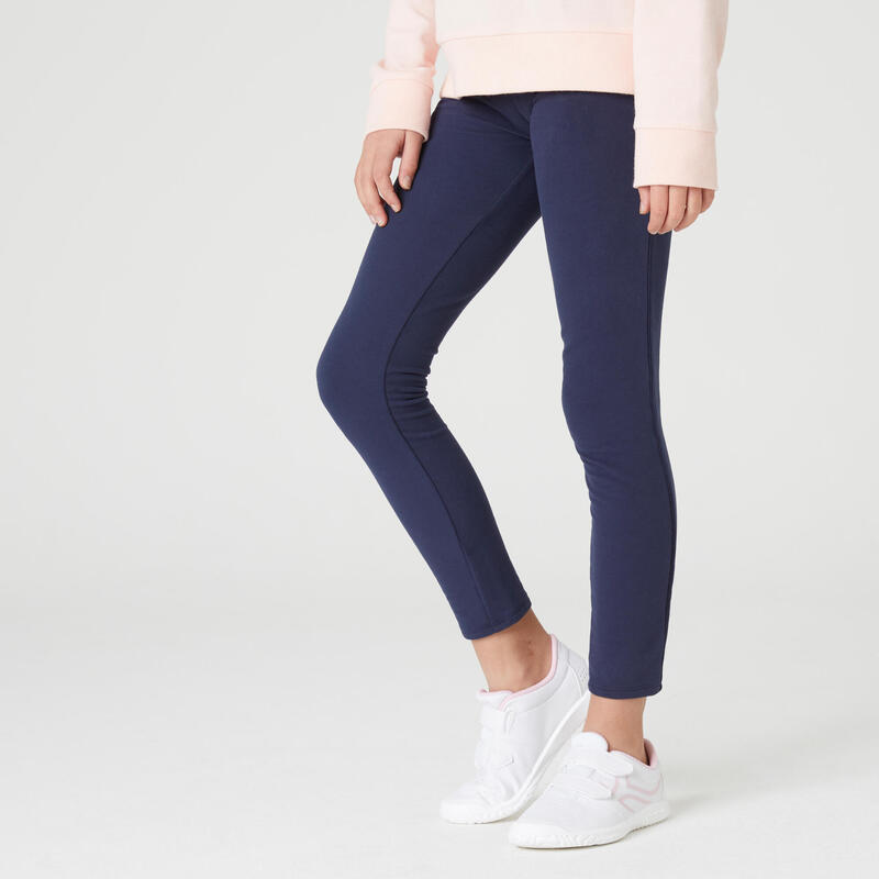 Legging chaud french terry coton fille enfant marine