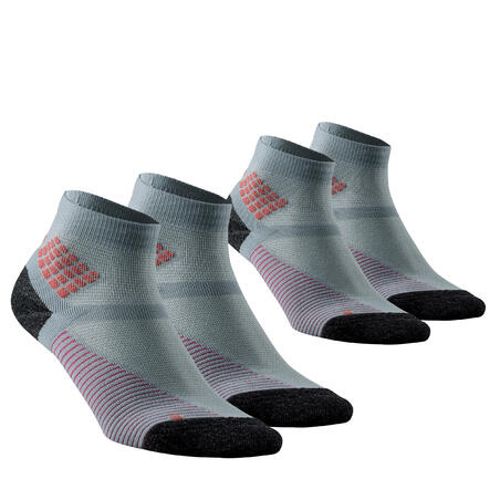 Hiking socks - MH500 Mid x2 pairs Grey Pink