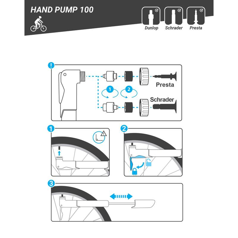Basic Bike Hand Pump 100 - Black