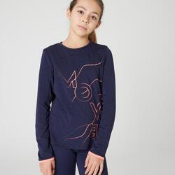 Langarmshirt atmungsaktiv Mädchen blau/koralle
