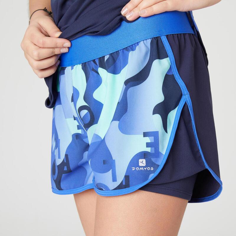 Dívčí kraťasy 2v1 W500 modré s potiskem