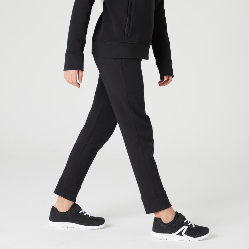 Pantalon 500 Educație fizică Slim buzunare cu fermoar negru fete