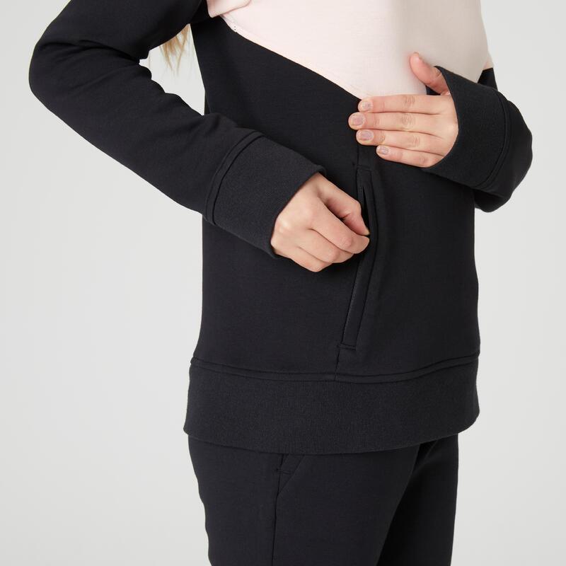 Polerón capucha cálido 500 GIMNASIA Niños rosa/negro bolsillo cierre