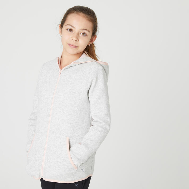 Sweat zippé chaud capuche gris clair enfant