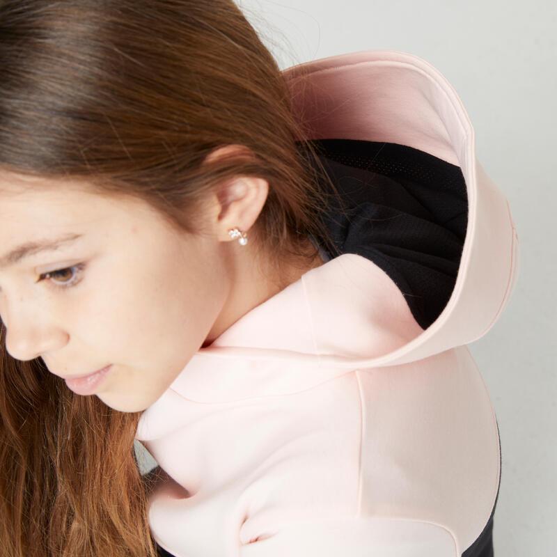 Sweat capuche poches zippées noir rose ENFANT