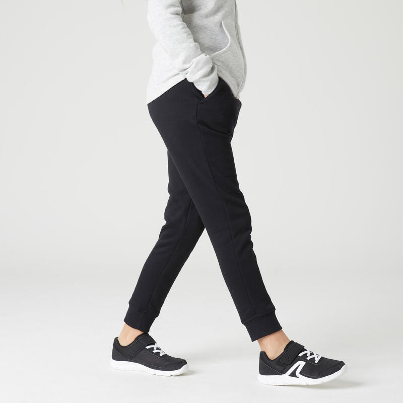 Pantalon de trening 100 cu buzunare educație fizică negru fete
