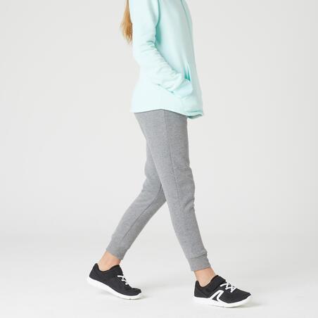 Pantalon chaud gym enfant 100gris clair imprimé– Fille