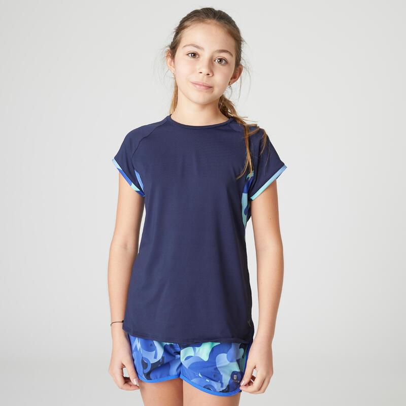 T-shirt enfant synthétique respirant - 500 bleu marine