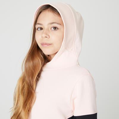 Saco capucha caliente bolsillo crem GIMNASIA INFANTIL 500 niños rosado y negro