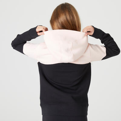 Girls' Warm Hooded Zip-Pocket Gym Sweatshirt 500 - Pink/Black
