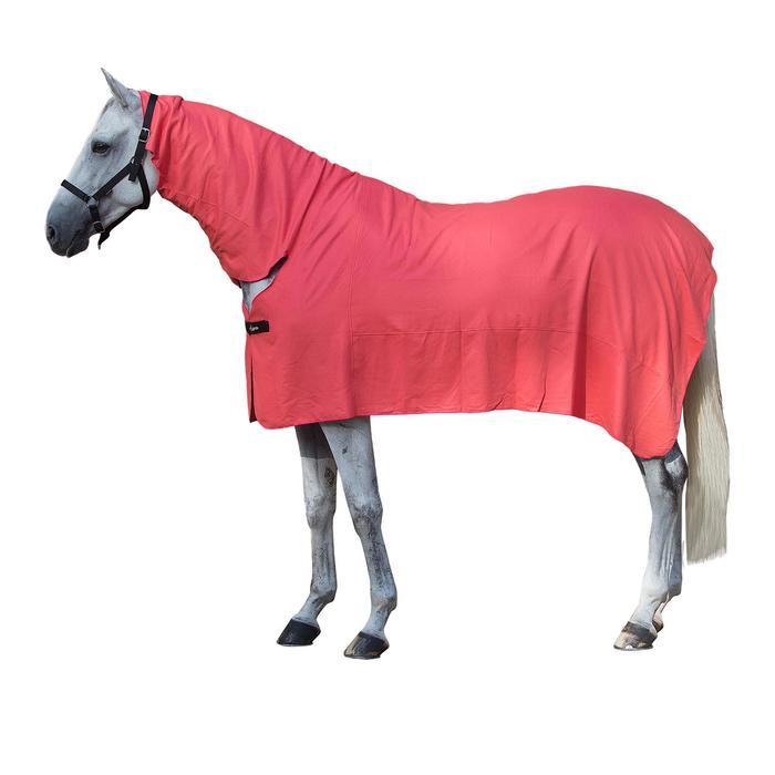 Manta ligera secante de equitación para poni y caballo FULL NECK coral