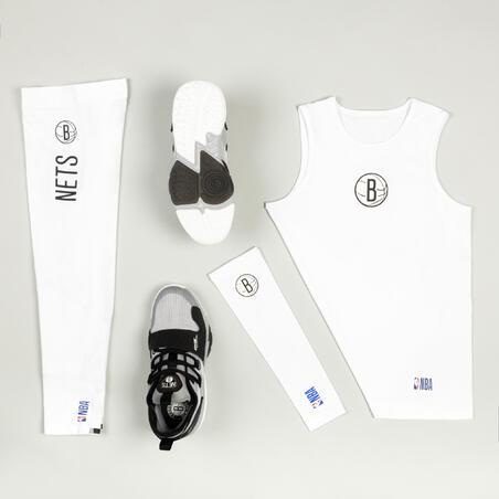 Kids' Basketball Elbow Guard E500 - White/NBA Brooklyn Nets