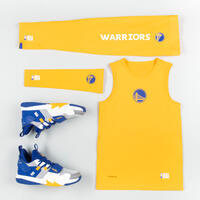 Kids' Slim Fit Basketball Base Layer Jersey - Yellow/NBA Golden State Warriors