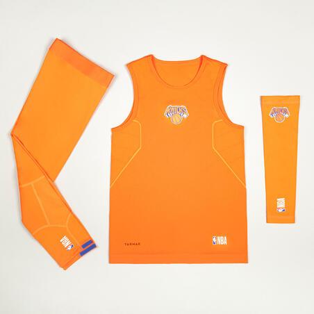 Kids' Slim Fit Basketball Base Layer Jersey UT500 - Orange/NBA New York Knicks