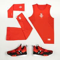 Kids' Slim Fit Basketball Base Layer Jersey UT500 - Red/NBA Houston Rockets