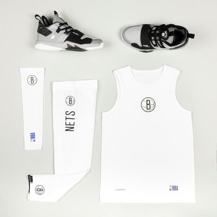 Boys'/Girls' Basketball Base Layer Top UT500 - White/NBA Brooklyn Nets