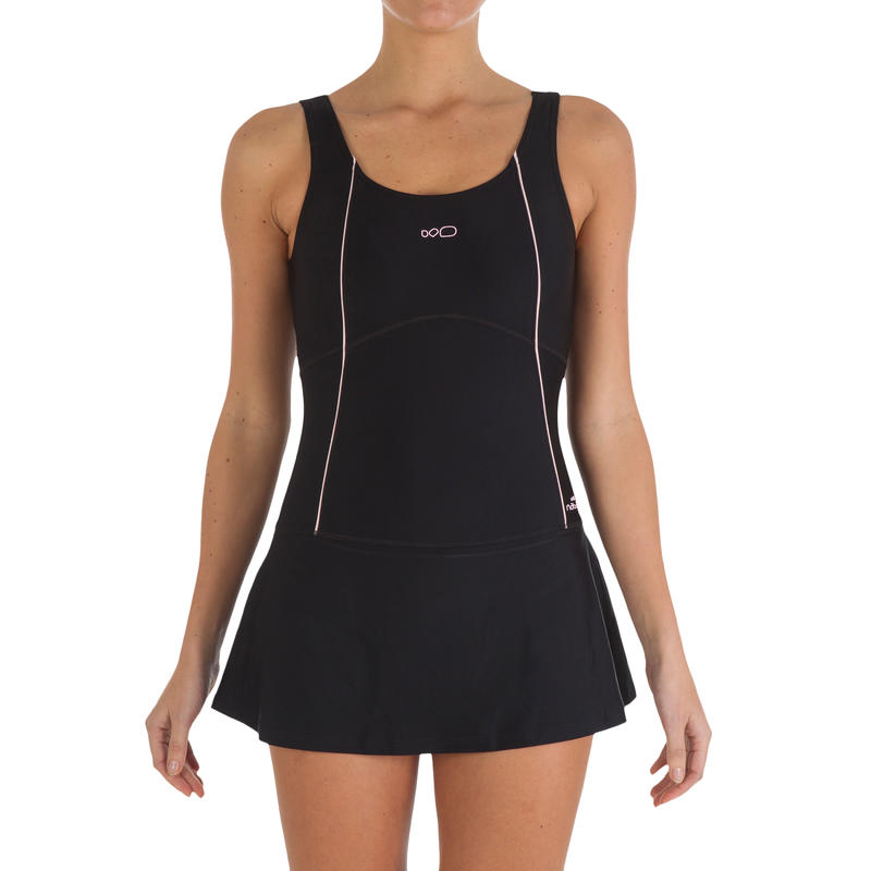 Women Swimming Costume Sleeveless with skirt - Black