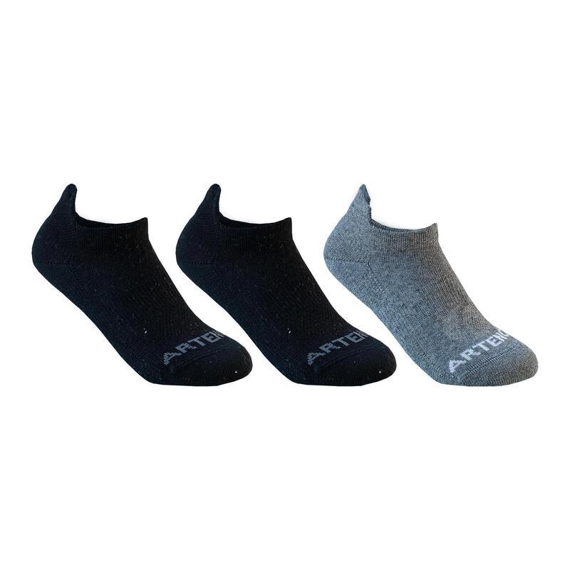 Çocuk Tenis Çorabı - Kısa Konçlu - 3 Çift - Gri - RS160