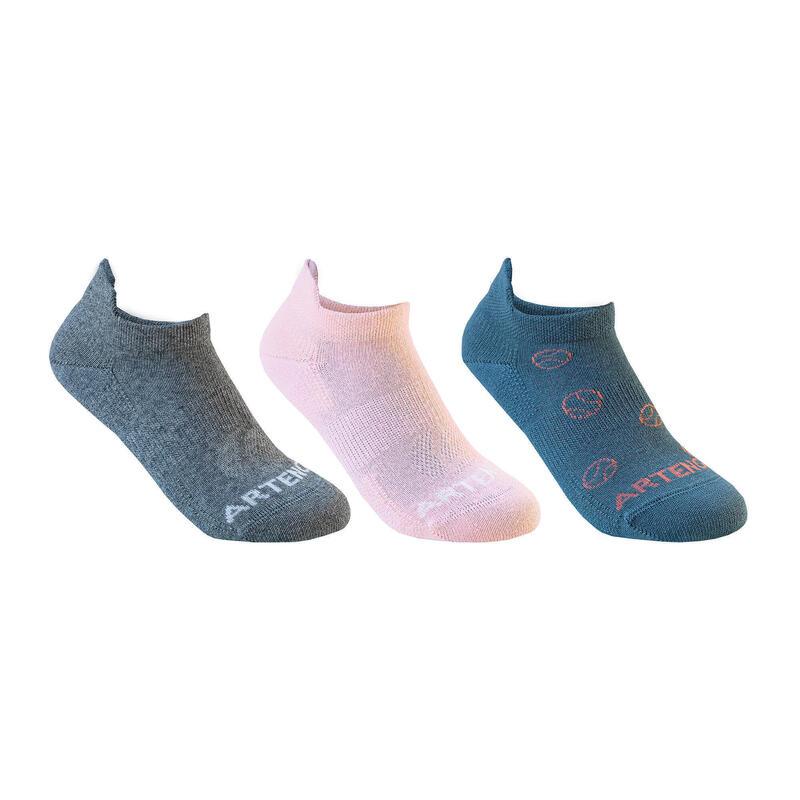 Çocuk Tenis Çorabı - Kısa Konçlu - 3 Çift - Gri / Pembe / Turkuaz - RS160