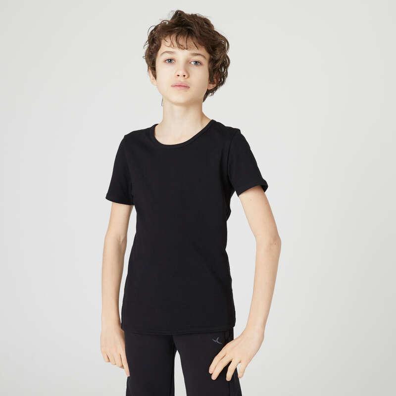 LAGANA ODJEĆA ZA VJEŽBANJE ZA DJEČAKE Počinje škola - Majica 100 za dječake crna DOMYOS - Dječje majice kratkih rukava za TZK
