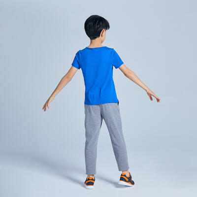 Camiseta manga corta GIMNASIA INFANTIL 100 niño azul estampado