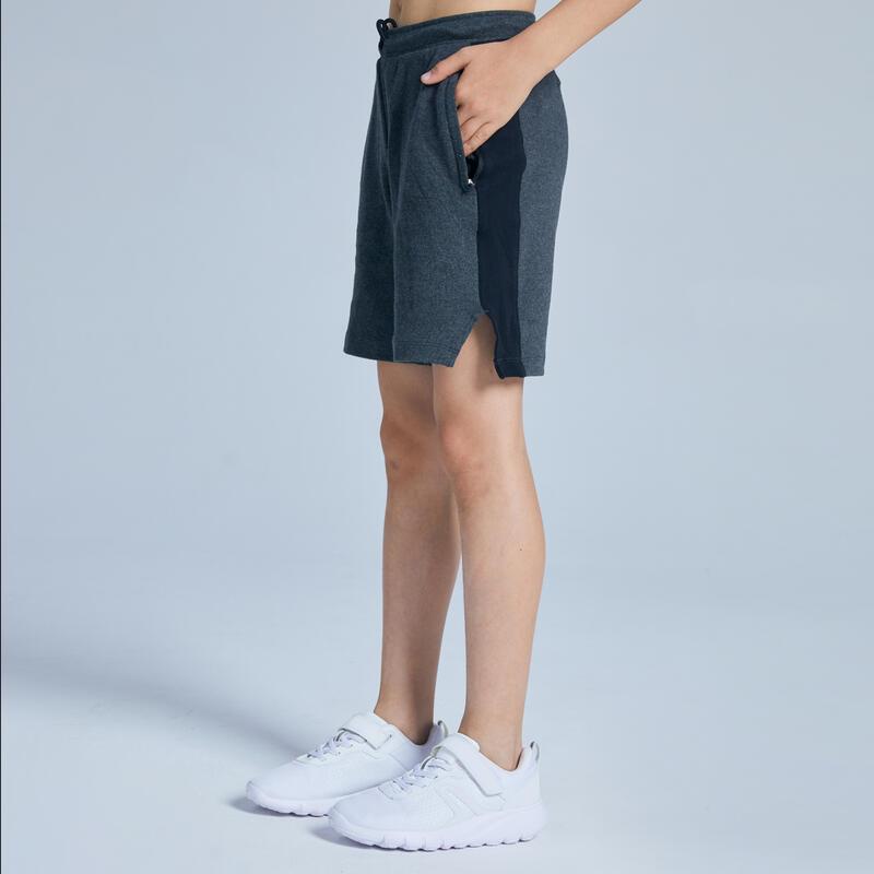 Boys' Breathable Cotton Zip-Pocket Gym Shorts 500 - Dark Grey Marl