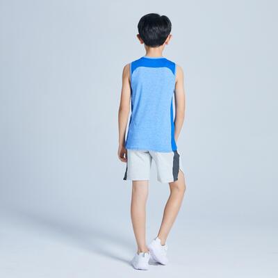 Boys' Breathable Cotton Zip-Pocket Gym Shorts 500 - Light Grey Marl