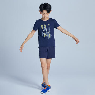 Camiseta de manga corta 100 niño GIMNASIA INFANTIL azul marino estampado