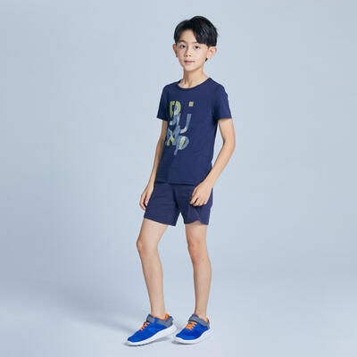 Boys' Short-Sleeved Gym T-Shirt 100 - Navy Blue Print