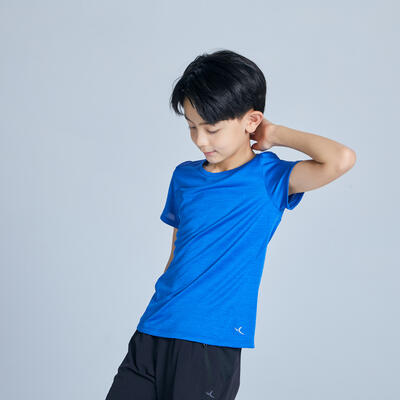 Boys' Breathable Synthetic Short-Sleeved Gym T-Shirt S500 - Blue AOP