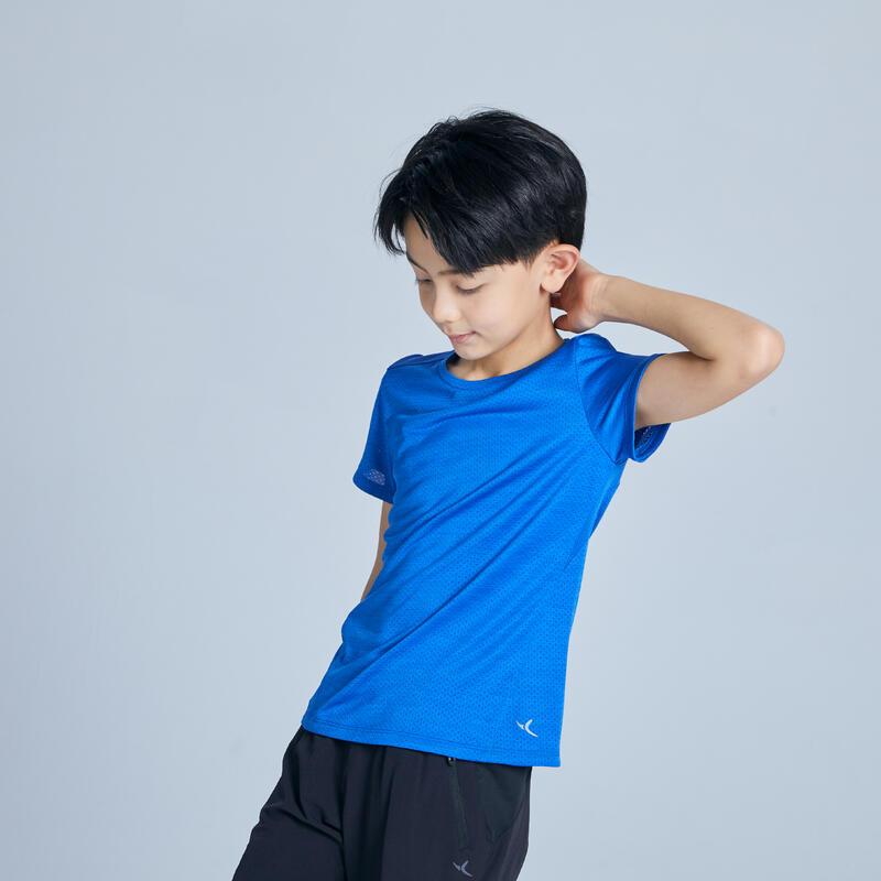 T-shirt manches courtes synthétique respirant, S500 garçon GYM ENFANT bleu