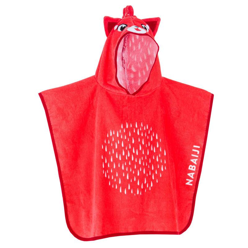 Poncho bébé / enfant avec capuche rouge imprimé PANDA ROUX