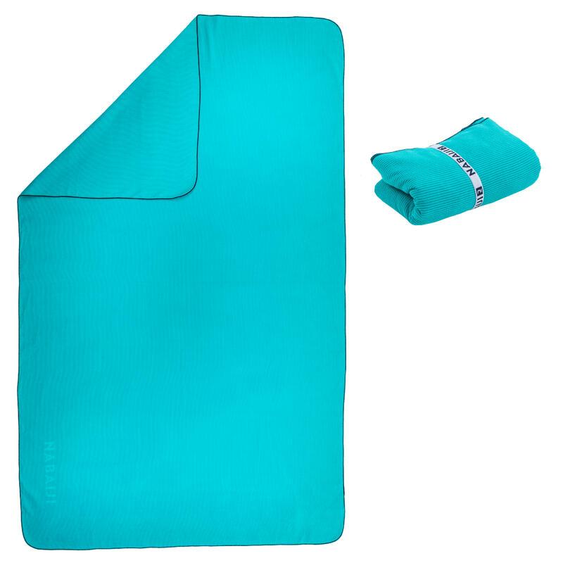 Mikropluošto rankšluostis plaukimui, XL dydis, 110 x 175 cm, dryžuotas, mėlynas