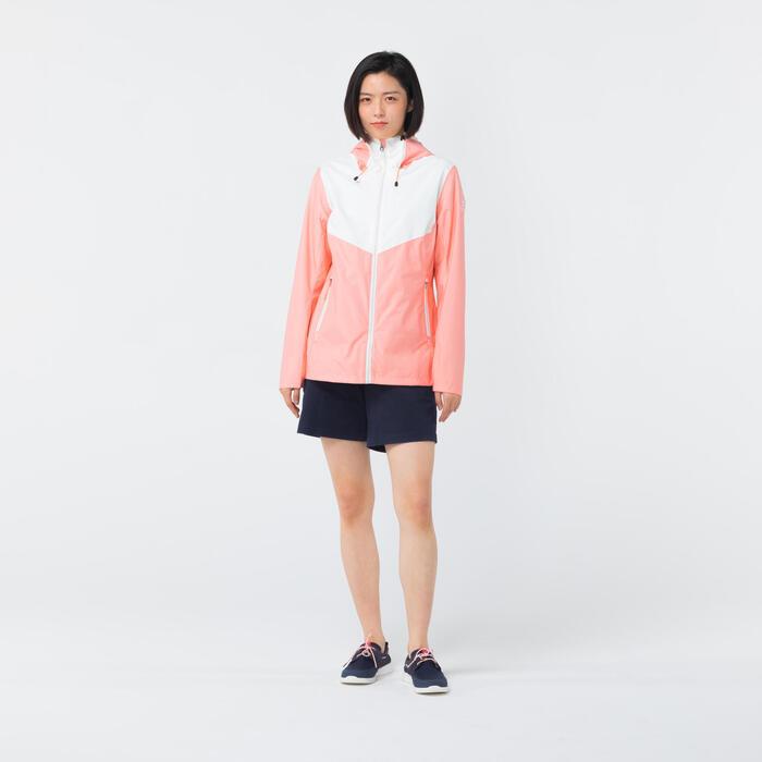Women's Waterproof Sailing Jacket 100 CN - Light Pink