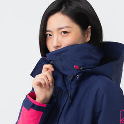 女款防水防風航海外套300-藍色/粉紅色