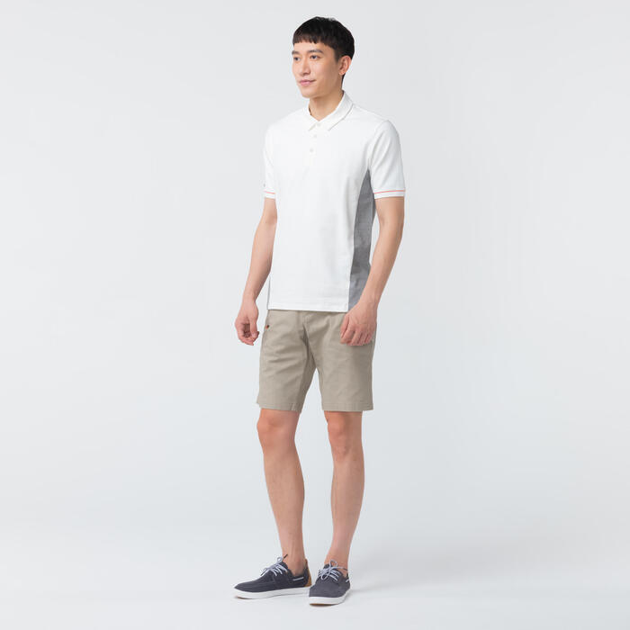 男款短袖航海Polo衫Sailing100-米白色/灰色