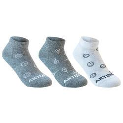 3雙入兒童款中筒運動襪RS 160- 灰色/白色/網球圖案